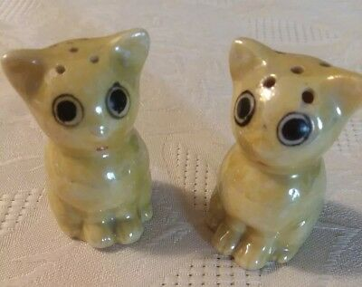 Vintage Iridescent Japan YELLOW BIG EYES Salt & Pepper Shakers