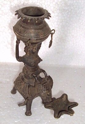 Old Brass Temple Home Candel Oil Lamp Lady Statues Figure On Elephant RichPatina