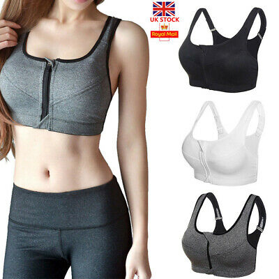 UK Women's Ladies Front Zip Sports Bra Push Up High Impact Wireless Padded Vest