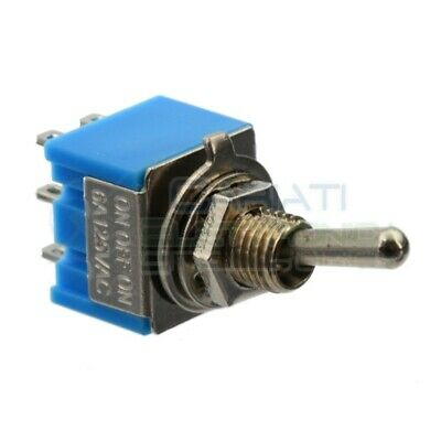 2 PEZZI Interruttore Deviatore a Leva ON OFF ON 2A 250V 6 Pin DP3T Bilanciere