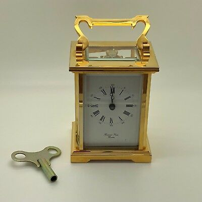 Vintage Carriage Clock Mechanical 8 Day Movement Heavy Brass Bornand Freres