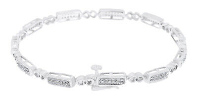 925 Sterling Silver 0.25 CT Round White Natural Diamond Heart Link Bracelet