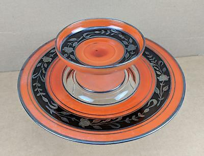 Vtg Orange Black Flashed Glass Plate & Footed Dish w/ Silver Overlay Halloween