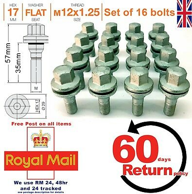Citroen Saxo 4 stud alloy wheel bolts (nuts lugs) 35mm M12 x 1.25 flat seat x 16