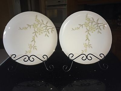 "2 BARKER BROTHERS Japan Porcelain China  10 1/4"" DINNER PLATES Flowers 63-293P"
