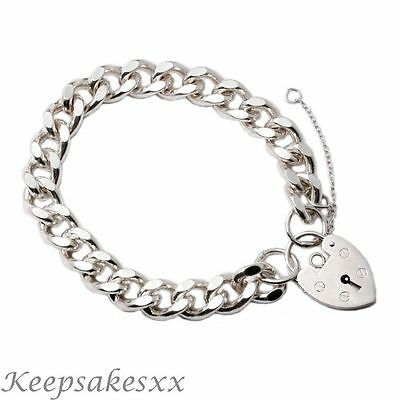 """Sterling Silver Mens Chain Bracelet - 8"""" flat curb design made in UK Hallmarked"""