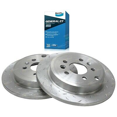 2 Rear Slotted+ Drilled Brake Rotors + Disc Pads Ford Falcon BA BF 2002-2012 XT