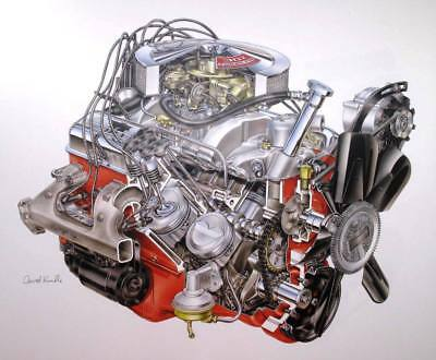 David Kimble Illustration 1967 302 (Z28) Camaro Engine Hi Gloss Print 10x12