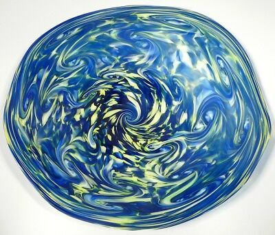 Hand Blown Glass Wall Or Table Platter, Dirwood, Blue, Green & Lemon Yellow