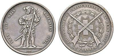 AC#CH8 Switzerland 5 Francs 1857 Bern Silver Coin