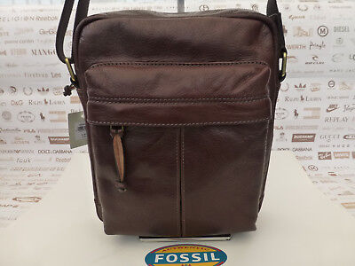 FOSSIL City Bag DEFENDER Dk Brown Leather Flight Shoulder Body Bags BNWT RRP£189