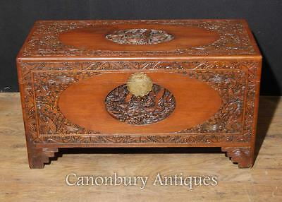 Chinese Carved Chest Luggage Trunk - Antique Camphor Wood