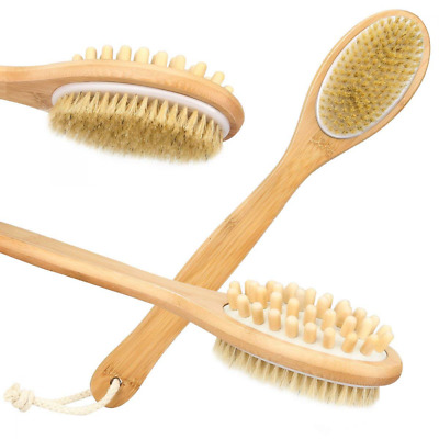 Bamboo Bath Brush with Long Handle Back Body Scrubber for Dry Skin Brushing NEW