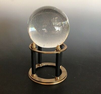 GREAT CITY TRADERS of SF Vintage Crystal Ball Tiny Bubbles and Brass Stand