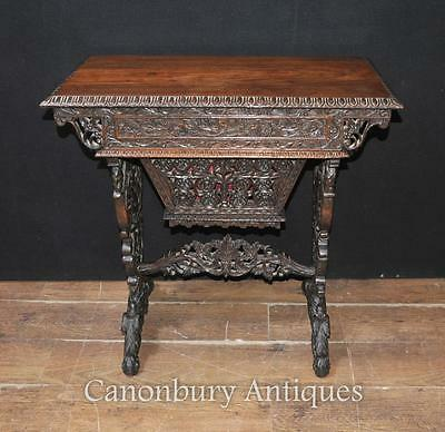 Burmese Desk - Antique Hand Carved Writing Table Circa 1890 Myanmar Burma