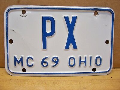 Vintage 1969 Ohio Motorcycle Scooter License Plate