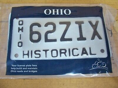 Vintage Historical Ohio Motorcycle Scooter License Plate