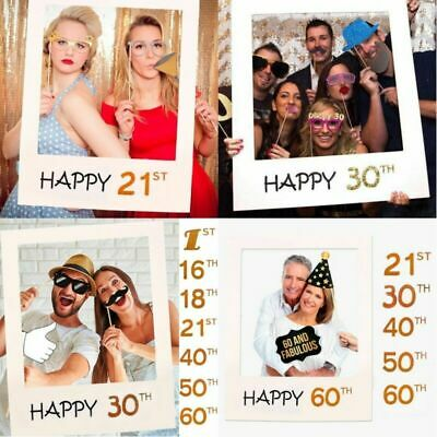18/21/30/40/50/60th 21st Selfie Frame Photo Booth Props Happy Birthday Party UK❤