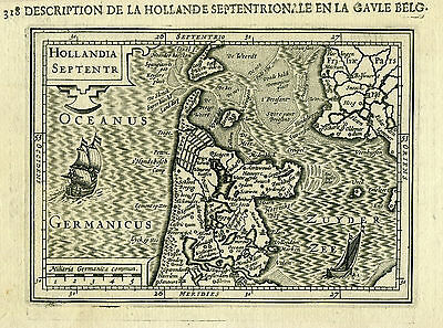 Original antique map of northern Holland, Amsterdam by Petrus Bertius from 1618