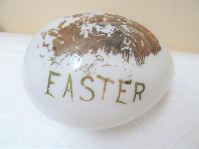 "Antique Victorian Era Blown Milk Glass Handpainted Large 7"" Easter Egg"
