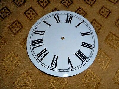 "Round Paper Clock Dial - 4 1/2"" M/T - Roman- Gloss White-Face/Clock Parts/Spares"