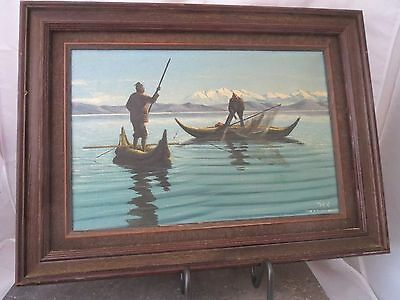 Vtg Painting Ecuadorian Bolivia Oil Canvas Painting sgd Tom A TITICACA LAGO