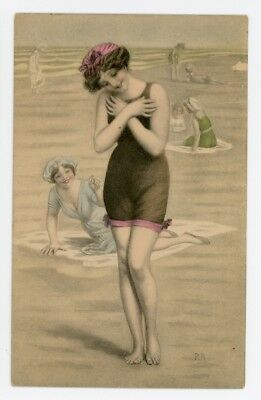 BATHING BEAUTY POSTCARD. Lady with Crossed Arms. Early Artist Drawn Postcard