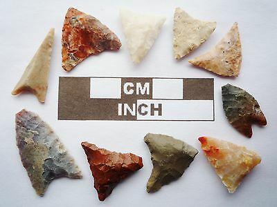 Neolithic Arrowheads, 10 x Triangle Artifacts - 4000BC - (R021)
