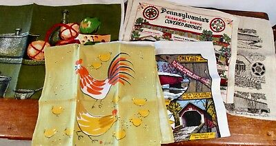 5 Linen Cotton Kitchen Towels  - VERA  / IRELAND / PA COVERED BRIDGES