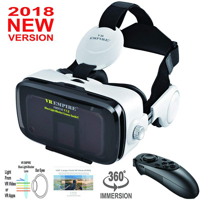 VR Headset With Wireless Remote Controller; Anti-Blue-Light Lenses ,Stereo NEW