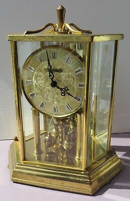Kundo Germany Anniversary Clock Octagonal Quartz Brass Etched Floral Glass Case
