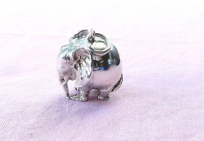 Vintage Solid Sterling Silver Round Ball 3D Elephant Pendant Charm 17 Gram Heavy