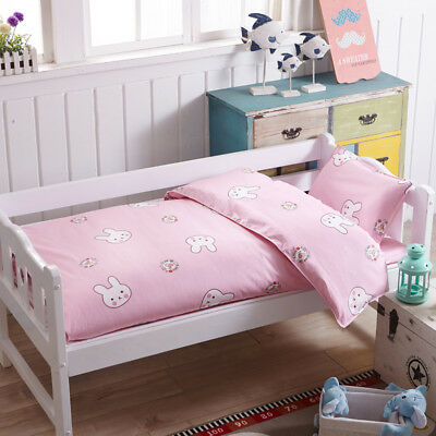 Pink Rabbit New Baby Girl Bedding Crib Cot Set Quilt Cover Padded Cotton Nursery