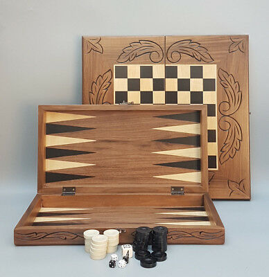 Chess,backgammon & Checkers Handmade Carved Solid Game Wooden Set 20""