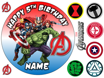 Marvel Avengers Personalised Edible Icing Cake Topper 3 Sizes 3 Designs