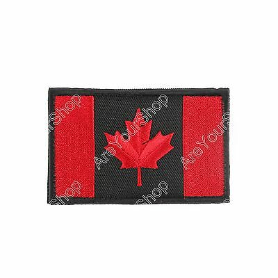 Canada Flag Embroidered Hook Loop Emblem Patch Canadian Maple leaf 8x5cm BS1