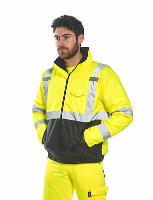 Portwest US363 Hi-Vis Two-Tone Bomber Jacket, Waterproof & Insulated
