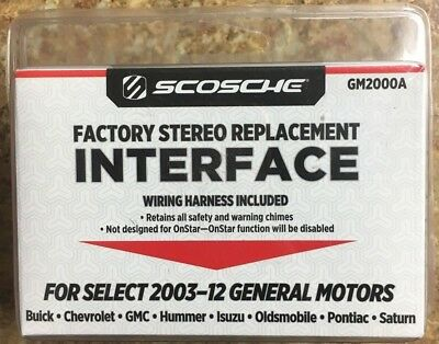 new scosche factory stereo replacement interface (gm2000a) 2003-12 select  motors