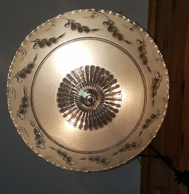 Antique/Vtg 1940's Art Deco Glass w/ Chrome Light Fixture Chandelier