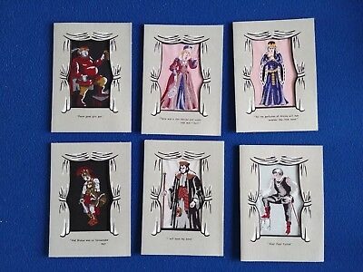 6 WOVEN SILK Pictures - Shakespeare Characters - William Franklin & Sons