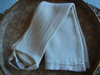 Antique Cream Knitted Baby Pants with Loops Baby Clothes Baby Wool Pants 2T 3T