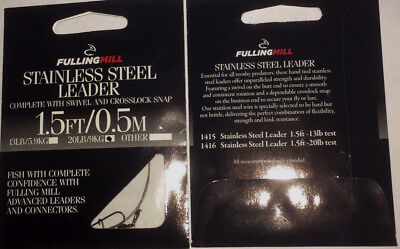 Fulling Mill Stainless Steel Leader(1.5 FT/0.5 M) Pack of four leaders. 20lb/9kg
