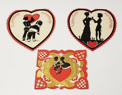 Vintage Valentines Cards Die Cut Cute Silhouettes Hearts Gold Gild Lot of 3