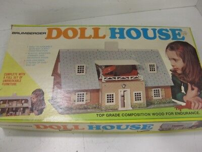 Vintage Brumberger Masonite Wood Dollhouse 2 Story 6 Rooms W/Furniture & People
