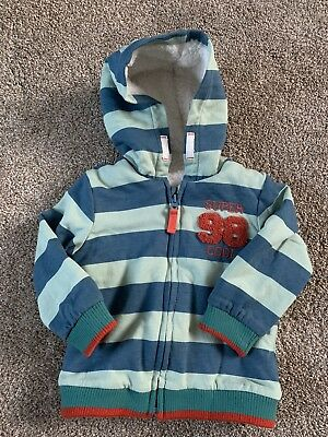 nutmeg baby boys 9-12 months striped hooded coat fluffy lined