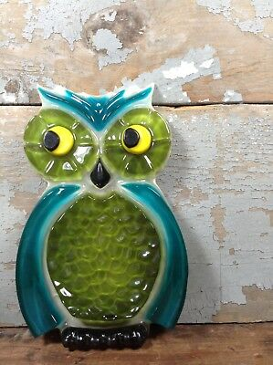 Vintage 1960's Wondermold Blue Green Glass Resin Owl Kitchen Spoon Caddy Rest