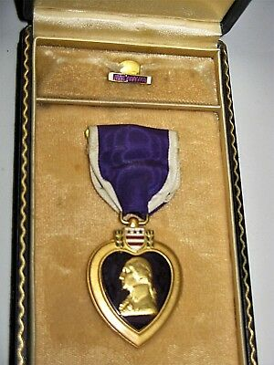 Purple Heart Medal Ribbon An Original Coffin  Box Not Engraved With No. Or Name