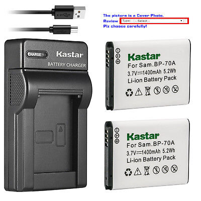 Kastar Battery Slim USB Charger for Samsung BP-70A & Samsung ST66 ST67 Camera