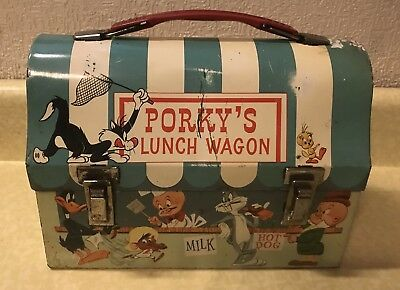 Vintage 1959 Porky's Lunch Wagon Dome Metal Lunchbox