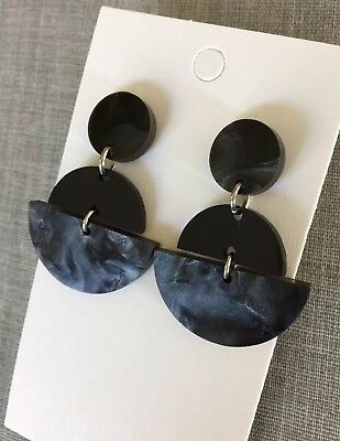 Acrylic Fan Dangle Earrings, Black Pearl Shimmer, Surgical Steel Stud, Statement